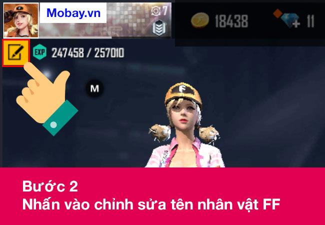 Nhấn vào chỉnh sửa tên nhân vật FF